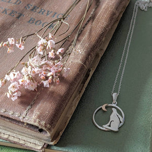 Rabbit Necklace [Gold Moon in Circle] - Everything Bunny Rabbit
