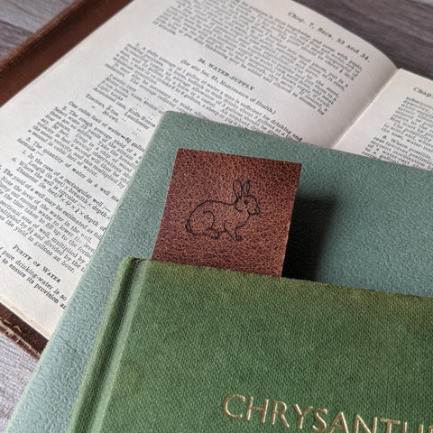 Rabbit Book Mark - Tan Leather - Everything Bunny Rabbit