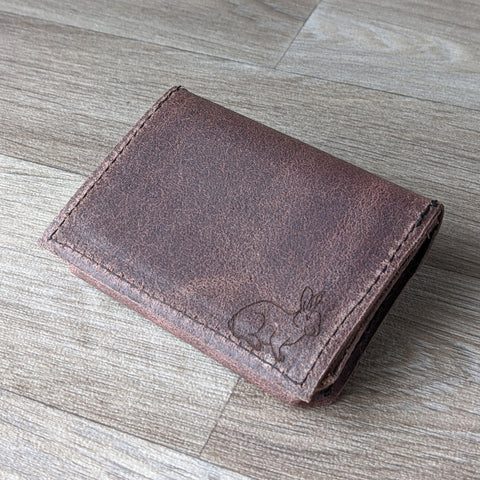 Rabbit Card Holder - Brown Leather - Everything Bunny Rabbit