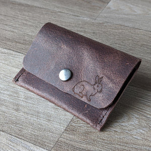 Rabbit Coin Purse - Brown Leather - Everything Bunny Rabbit