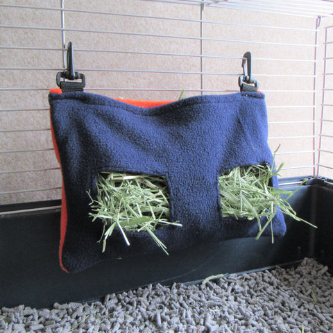 Rabbit hay feeder - Clip-on Fleece Hay Bag - Blue/Orange - Everything Bunny Rabbit - made in the UK - rabbit accessories