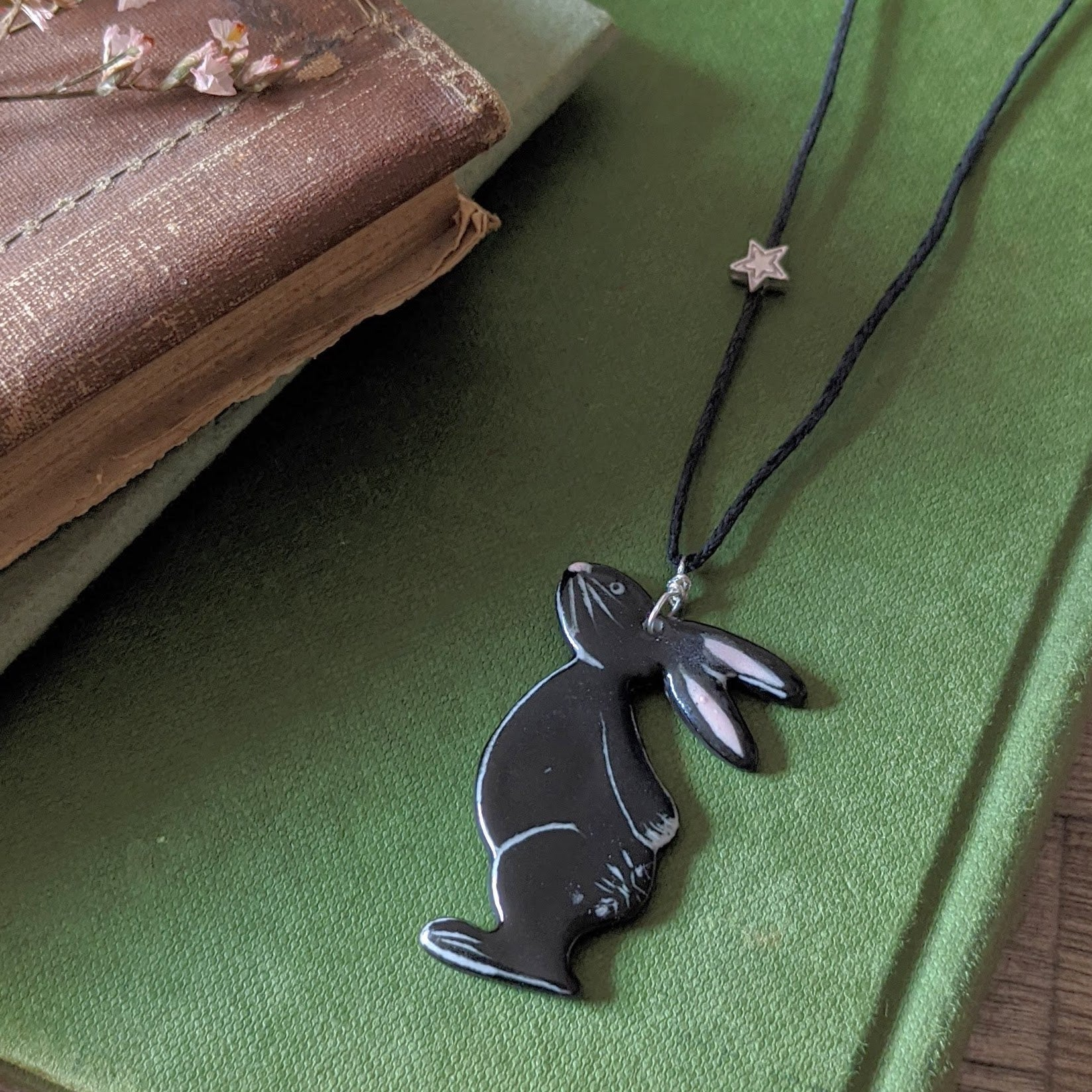 Bunny and Star Necklace - Black - Everything Bunny Rabbit