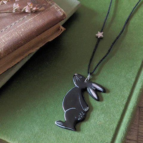 Bunny and Star Necklace - Black