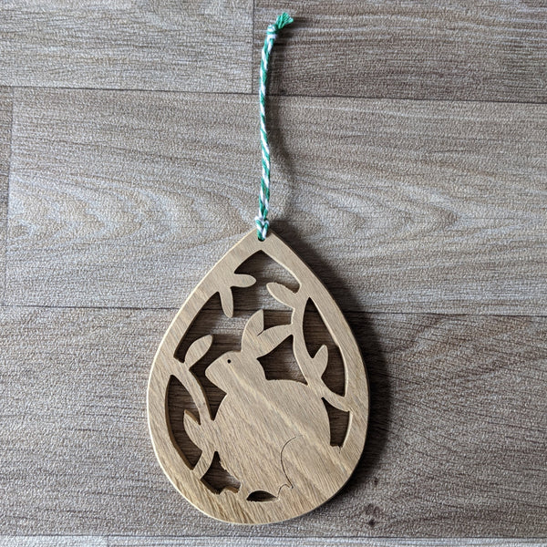 Oak Rabbit Decorative Hanger - Green Twine - Everything Bunny Rabbit
