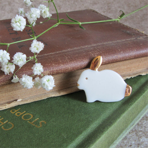 Rabbit Brooch - Bunny Brooch - White - Everything Bunny Rabbit Everything Bunny Rabbit, rabbit gifts and rabbit accessories