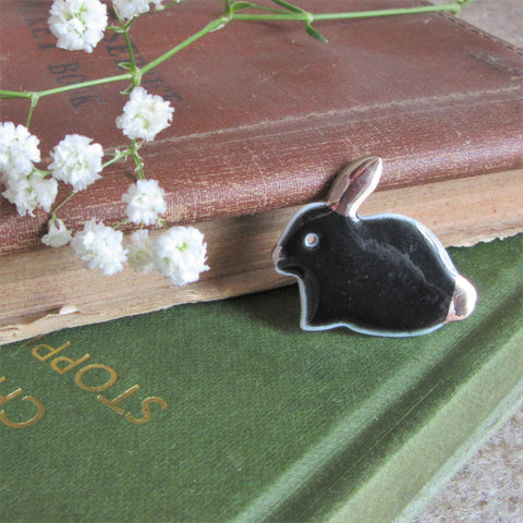 Rabbit Brooch - Bunny Brooch - Black - Everything Bunny Rabbit Everything Bunny Rabbit, rabbit gifts and rabbit accessories