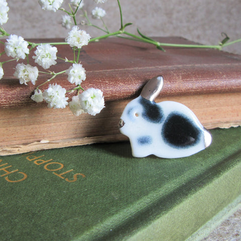 Rabbit Brooch - Handmade Porcelain - Black & White - Everything Bunny Rabbit, rabbit gifts and rabbit accessories