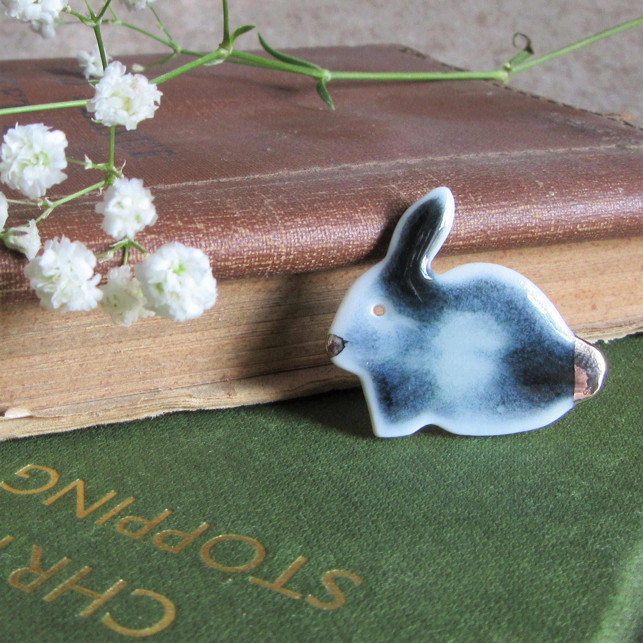 Rabbit Brooch - Bunny Brooch - Grey - Everything Bunny Rabbit - rabbit gifts and rabbit accessories