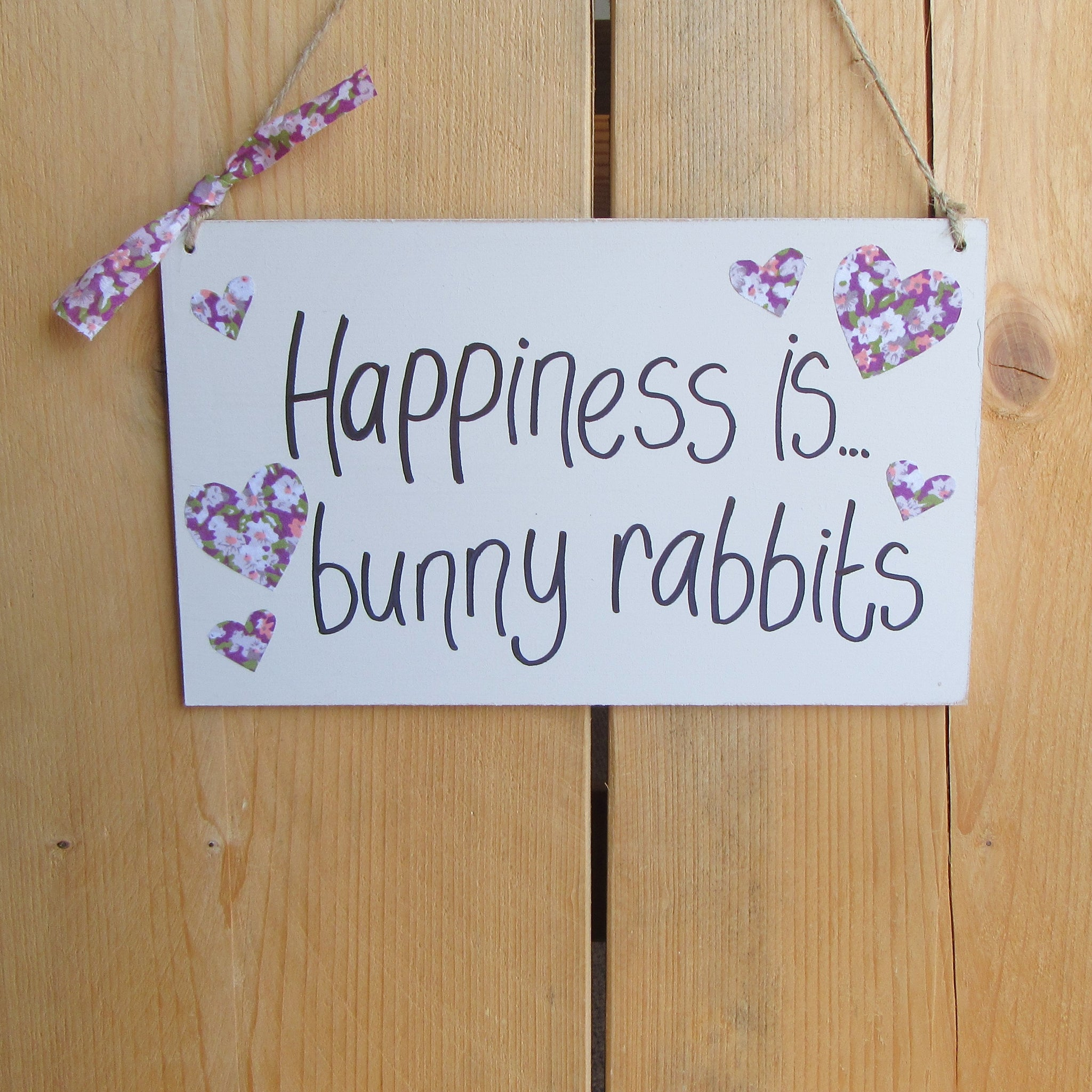 Wooden Sign [Happiness is bunny rabbits] | Everything Bunny Rabbit - Everything Bunny Rabbit
