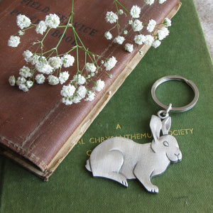 Rabbit Key Ring - bunny key ring - Everything Bunny Rabbit - made in the uk - gift boxed - pewter
