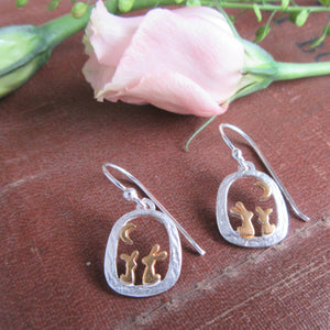 rabbit earrings - sterling silver - rabbit and moon - ear wires - bunny earrings