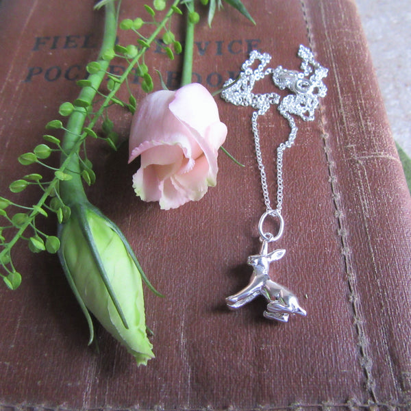 "silver rabbit necklace in sitting position - solid sterling silver - 18"" curb chain"