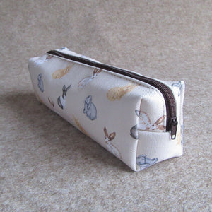 Rabbit Pencil Case - Everything Bunny Rabbit - a cotton pencil case with waterproof lining and rabbit pattern printed on.