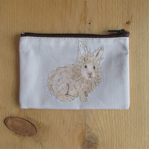 a fabric coin purse with zip and hand painted dutch rabbit - rabbit purse - Everything Bunny Rabbit - bunny purse - rabbit coin purse - dutch rabbit