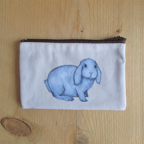 a fabric coin purse with zip and hand painted lop ear rabbit - rabbit purse - Everything Bunny Rabbit - bunny purse - rabbit coin purse – lop eared rabbit