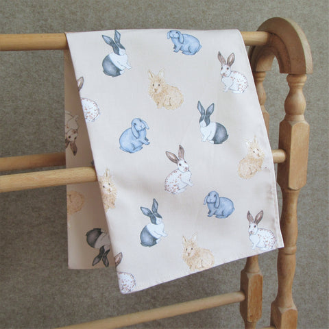 Rabbit Tea Towel - Everything Bunny Rabbit - cotton tea towel - made in the UK