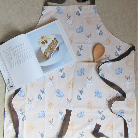 Rabbit Apron - Everything Bunny Rabbit - cotton apron with printed rabbit pattern on