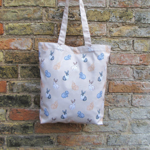Rabbit tote bag - Everything Bunny Rabbit - tote bag - cream coloured cotton tote bag with hand painted water colour rabbits printed on