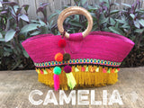 Straw Tote Bag with tassels and poms - Large