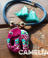 Mexican Ceramic Necklace Hand Painted