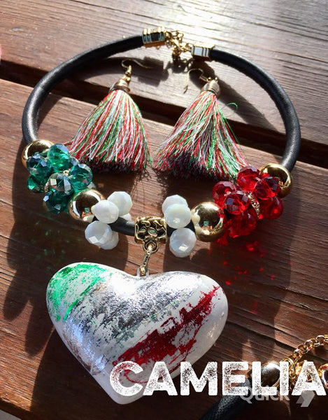 Mexican Ceramic Heart Necklace Set VIVA MEXICO