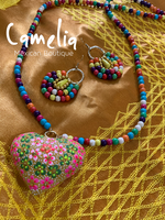 Mexican Bead Necklace Heart Set Long