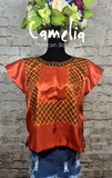 Frida Kahlo Huipil Blouse Satin