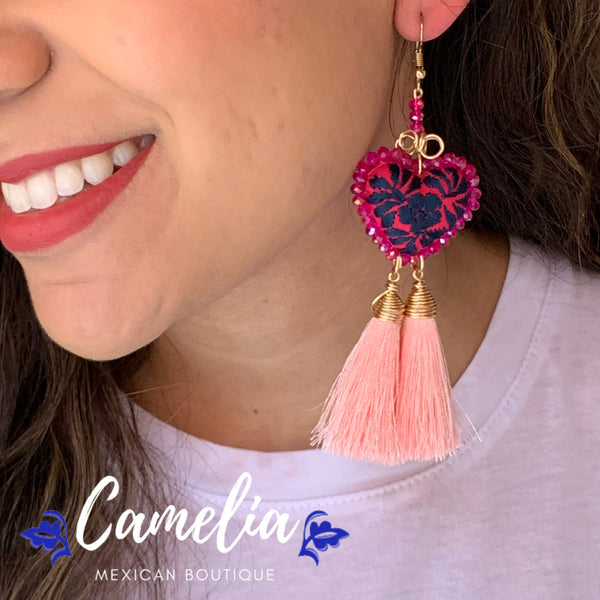 Oaxacan Embroidered Heart Tasseled Earrings - Pink