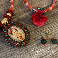 Frida Pendant Mexican Necklace Set RED