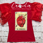 Mexican Loteria Shirt EL CORAZON - GIRLS