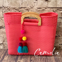 Handwoven Oaxacan Plastic Mexican Tote - Wood handles