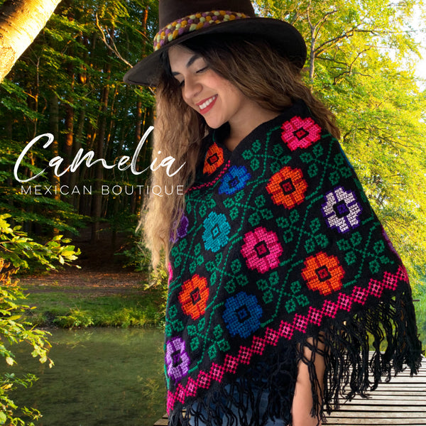 Mexican Cape Poncho Cross Stitch Black Floral