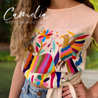 Mexican Otomi Crop Top Tie Back