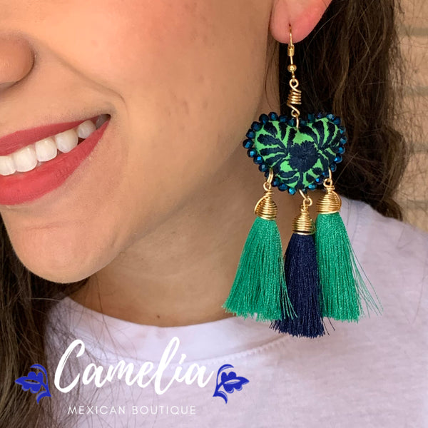 Oaxacan Embroidered Heart Tasseled Earrings - Green