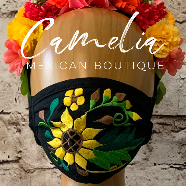 Mexican Embroidered Face Mask SUNFLOWER LEAF