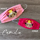 Mexican Embroidered Face Mask FRIDA GLASSES CHILD