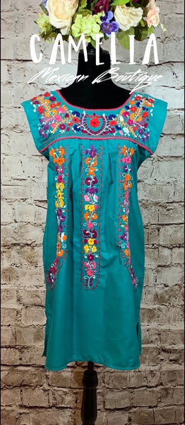 Puebla Mexican Dress Sleeveless