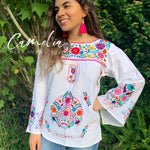 Puebla Mexican Blouse Bell Sleeve