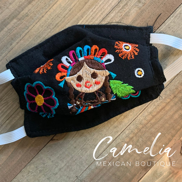 Mexican Embroidered Face Mask MARIA DOLL CHILD