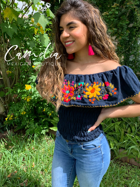 Off Shoulder Mexican Blouse Elastic Waist