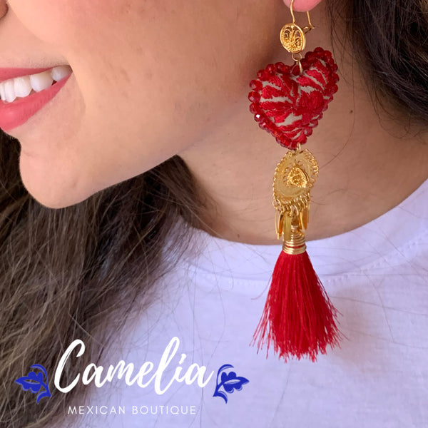 Oaxacan Filigree Embroidered Heart Tasseled Earrings - Red