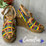 Mexican Leather Wedge Sandals Rainbow