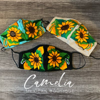 Mexican Embroidered Face Mask CHIAPAS SUNFLOWER