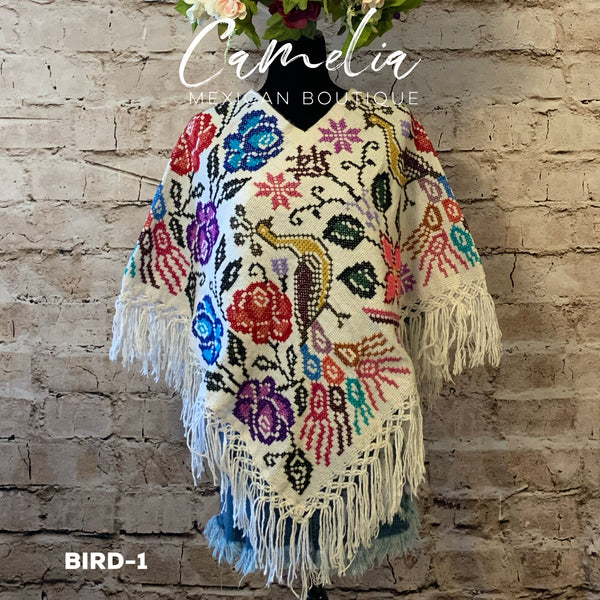 Mexican Cape Poncho Cross Stitch White Peacock