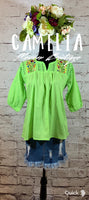 Mexican Embroidered Gauze Blouse 3/4 Sleeve