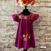 Girl Mexican Dress Floral Embroidery