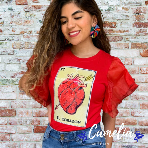 Mexican Loteria Shirt EL CORAZON