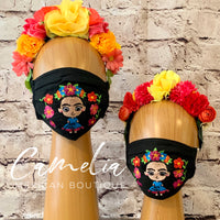 Mexican Embroidered Face Mask FRIDA GARDEN ADULT