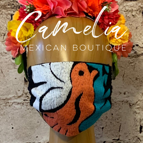 Mexican Embroidered Adjustable Face Mask JALAPA BIRD ADULT