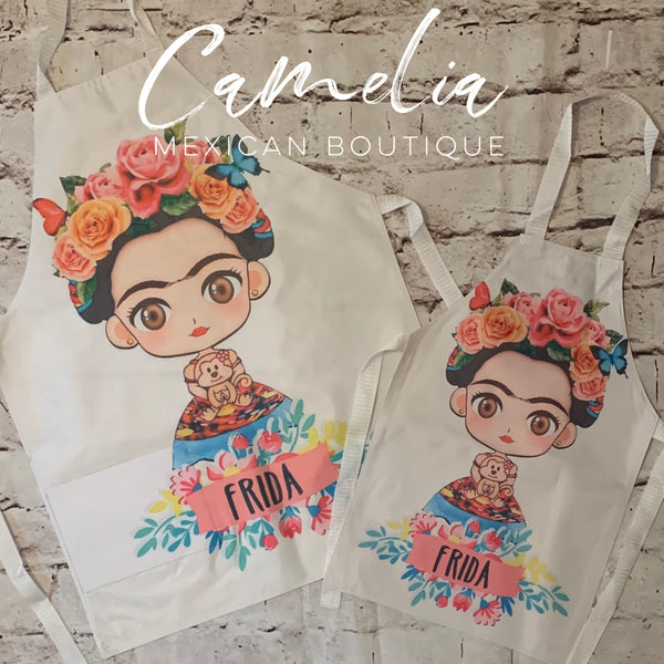 Frida Kahlo Apron MOMMY & ME Set FLORAL